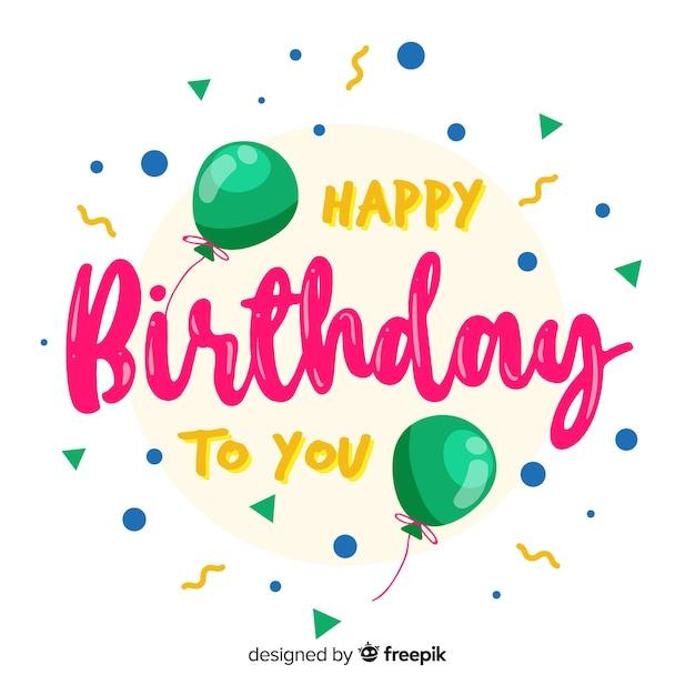 Creative happy birthday lettering concept Free Vector