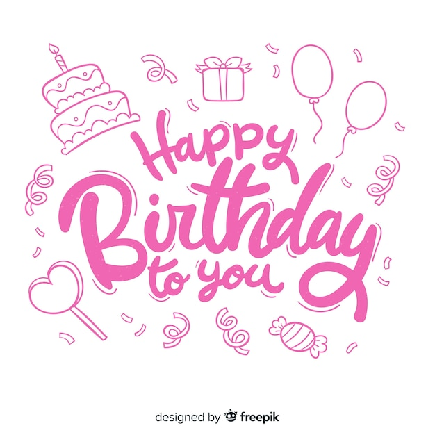 Creative happy birthday lettering concept Free Vector