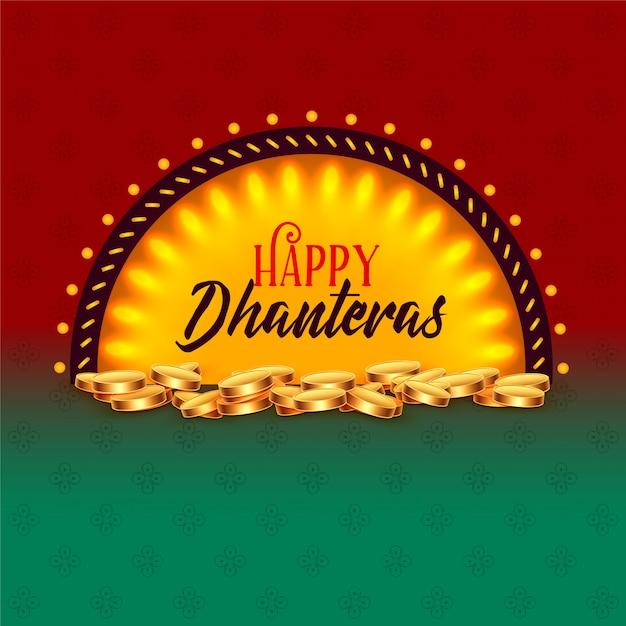 Creative happy dhanteras festival card greeting Free Vector