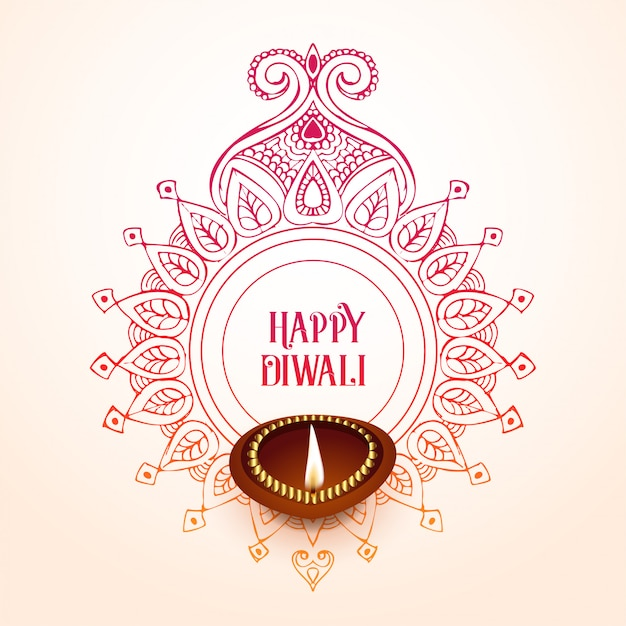 Creative happy diwali background design Free Vector