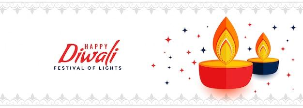 Creative happy diwali festival of lights banner Free Vector