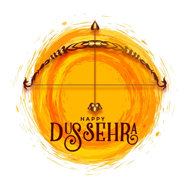 Creative happy dussehra festival greeting Free Vector