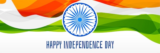 Creative Happy Indian Independence Day Banner Design Vector Free