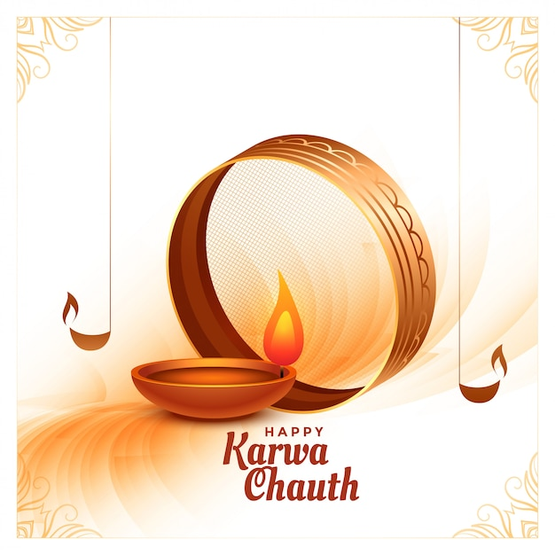 Creative happy karwa chauth festival card with realistic diya Free Vector