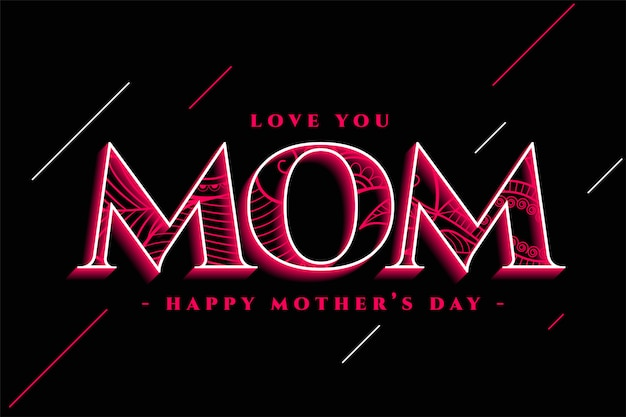 Creative happy mother's day greeting design Free Vector