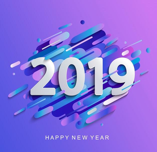 Creative happy new year 2019 card Premium Vector