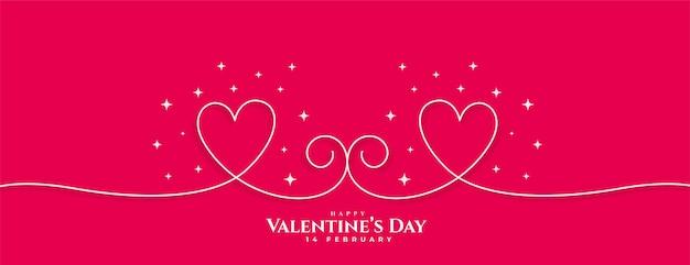 創造的な幸せなバレンタインデーラインハートバナー 無料ベクター