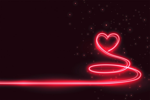Creative heart made in neon light background Free Vector