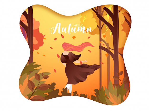 Creative hello autumn background. Premium Vector