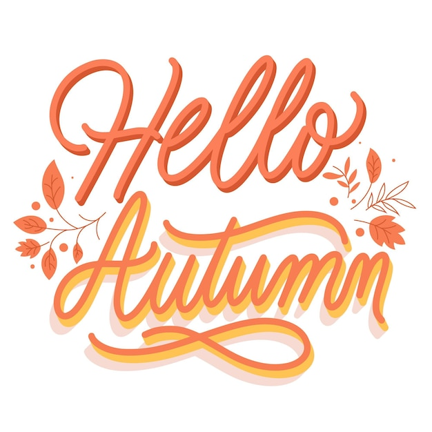 Creative hello autumn lettering with leaves Free Vector