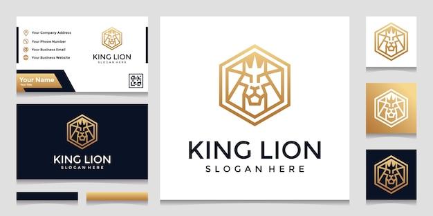 ライオンのコンセプトロゴにインスピレーションを得たクリエイティブな六角形。と名刺のデザイン Premiumベクター