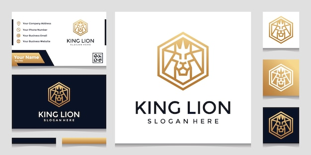 Creative hexagon with lion concept logo inspiration. and business card designs Premium Vector