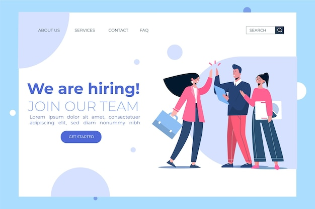 Creative hiring home page template Free Vector