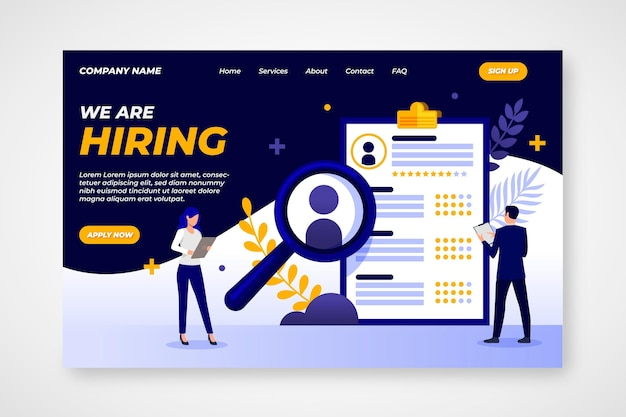 Creative hiring landing page illustrated Free Vector