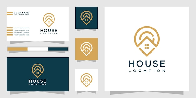 Creative home location logo with line art style and business card design Premium Vector