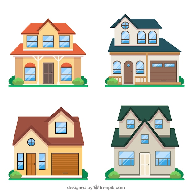 Creative house collection of four Free Vector