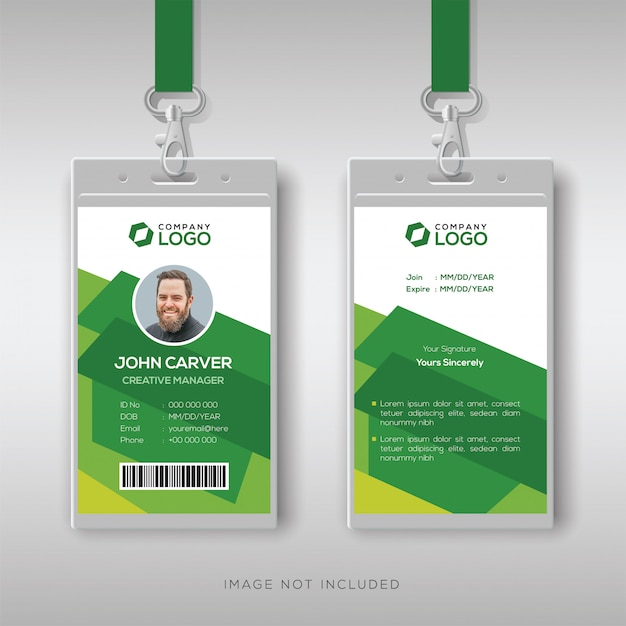 Creative id card template with abstract green background Premium Vector