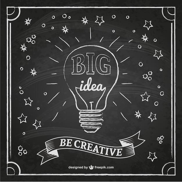 Creative idea bulb on a blackboard Free Vector