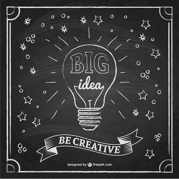 Creative Idea Bulb On A Blackboard Vector Free Download