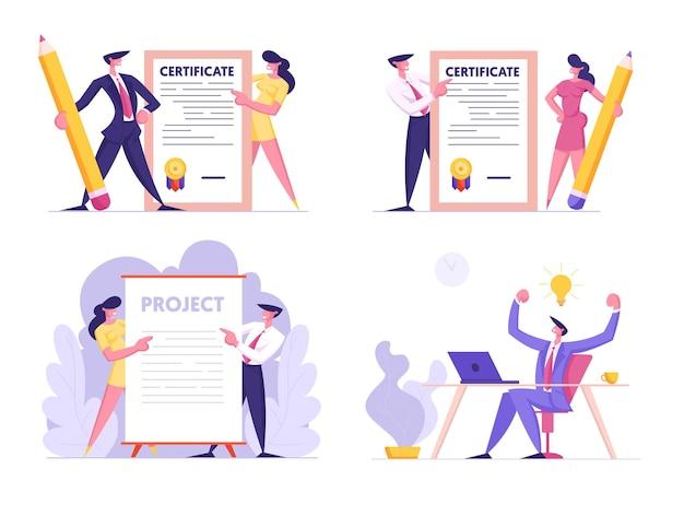 창의적인 아이디어, 인증서 및 프로젝트 서명 세트 비즈니스 사람들이 종이 문서를 들고 프리미엄 벡터