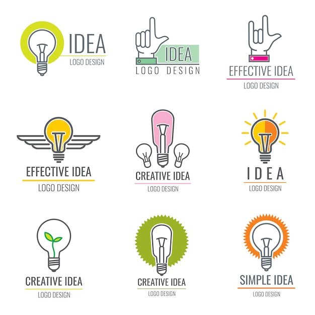 Creative idea digital media, smart brain concept  logo collection Premium Vector