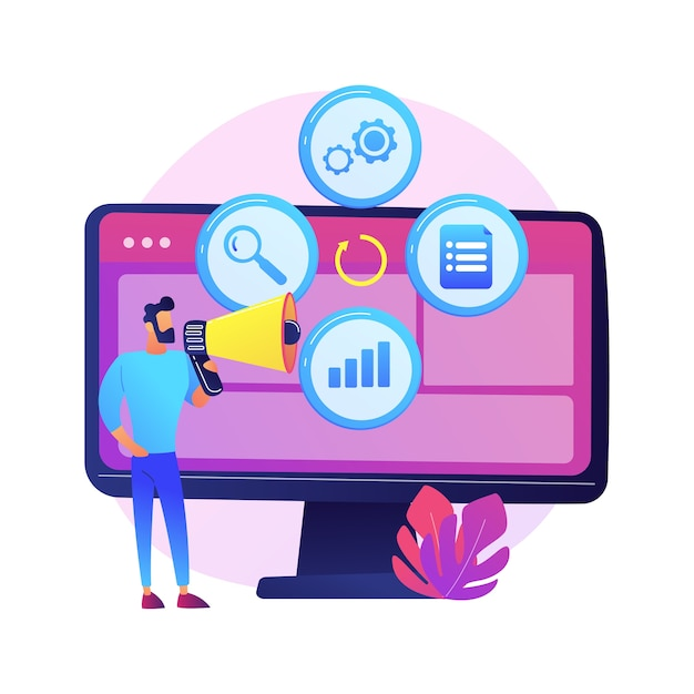 Creative idea flat icon. innovative internet project, advertising business, online promotion.man with loudspeaker cartoon character. Free Vector