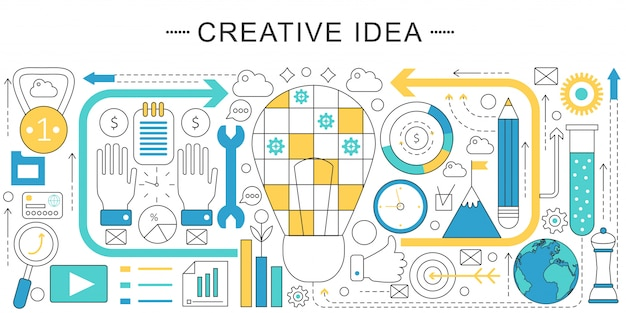 Creative idea flat line concept Premium Vector