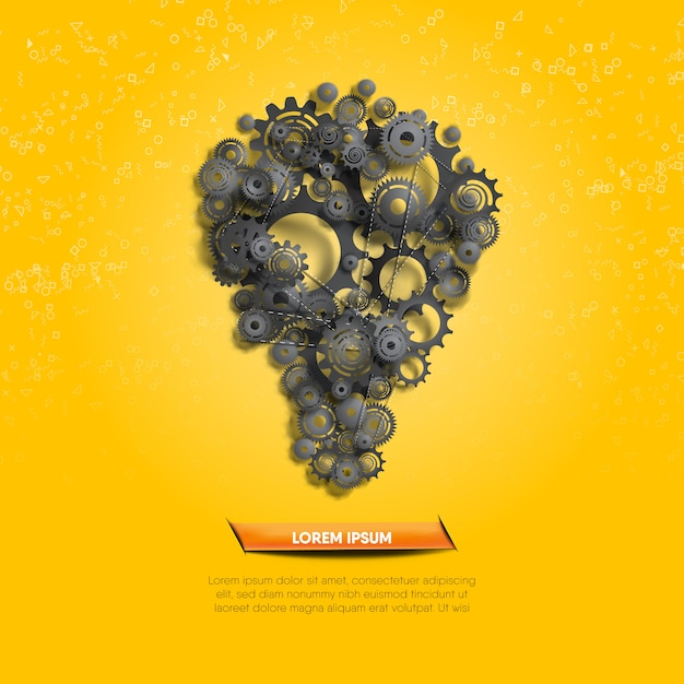 Creative idea illustrated by function of black gears and cogs on yellow geometry background. Premium Vector