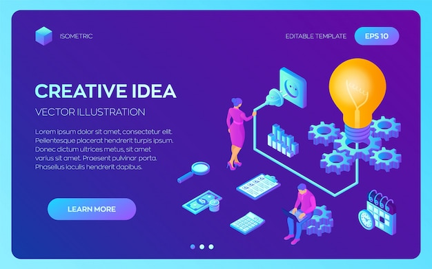 Творческая идея изометрии. лампа с шестернями. бизнес-концепция для совместной работы, сотрудничества, партнерства. Premium векторы