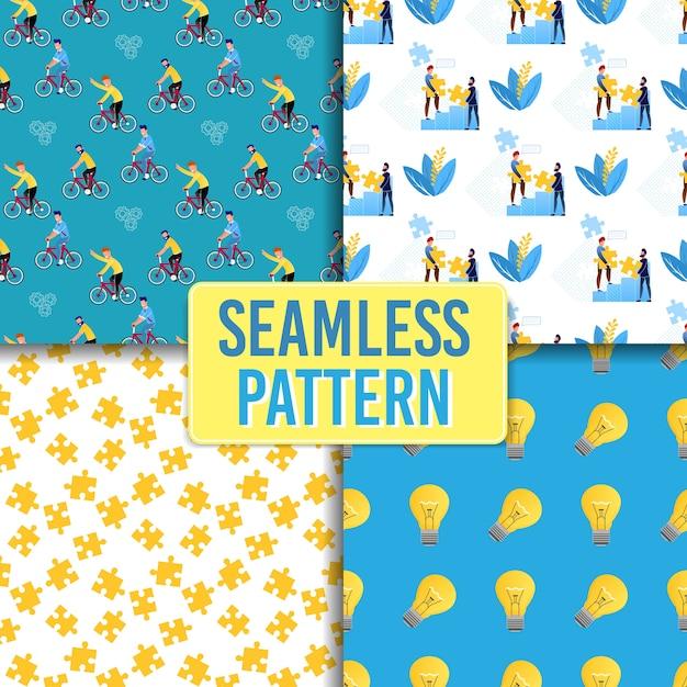 Creative idea and leadership seamless pattern set Premium Vector
