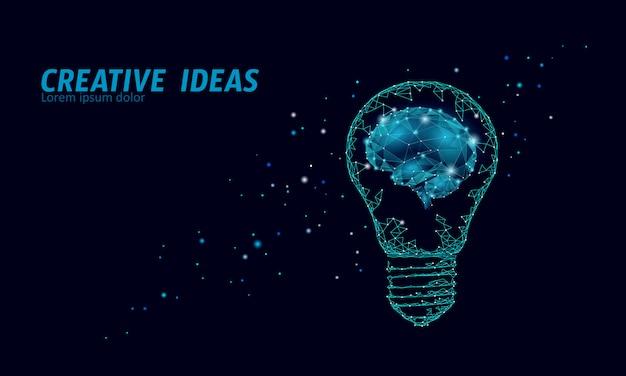 Творческая идея лампочку ночное звездное небо. низкая поли многоугольной бизнес мозговой штурм запуска темно-синий космический современный геометрический 3d лампа. изобретение вдохновение в форме мозга Premium векторы