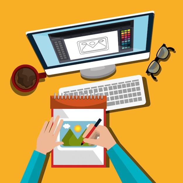 Progettista grafico di idee creative Vettore gratuito