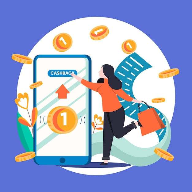 Creative illustration of cashback concept with phone Free Vector