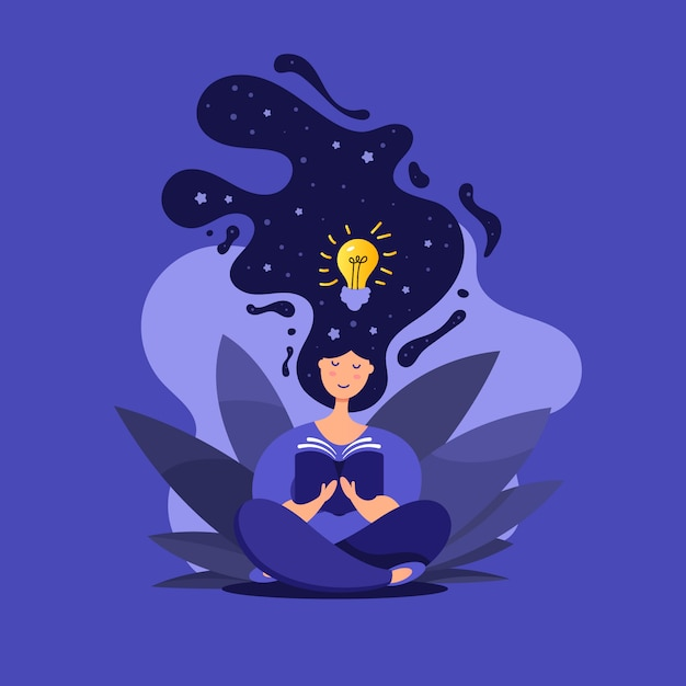 Creative illustration of cute girl in lotus position reads a book Premium Vector