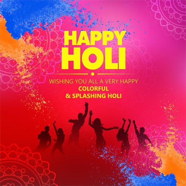 Creative illustration of happy holi poster Premium Vector
