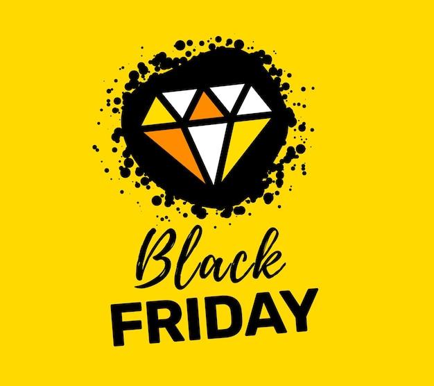 노란색 바탕에 아름 다운 다이아몬드와 검은 금요일 판매 비문 인쇄 술의 창조적 인 그림. 프리미엄 벡터