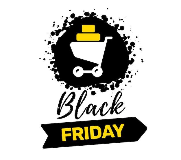 흰색 바탕에 쇼핑 트롤리와 검은 금요일 판매 비문 인쇄 술의 창조적 인 그림. 프리미엄 벡터