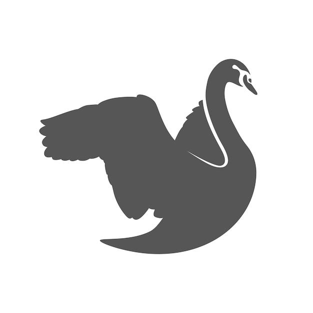 Творческая иллюстрация лебедя силуэт Бесплатные векторы