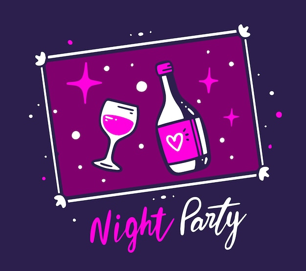 Creative illustration of photo frame with a wine bottle and glass on night purple color background with star and text. Premium Vector