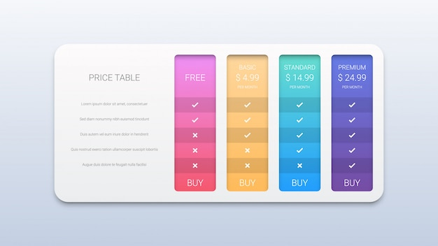Creative illustration of pricing table with four options isolated Premium Vector