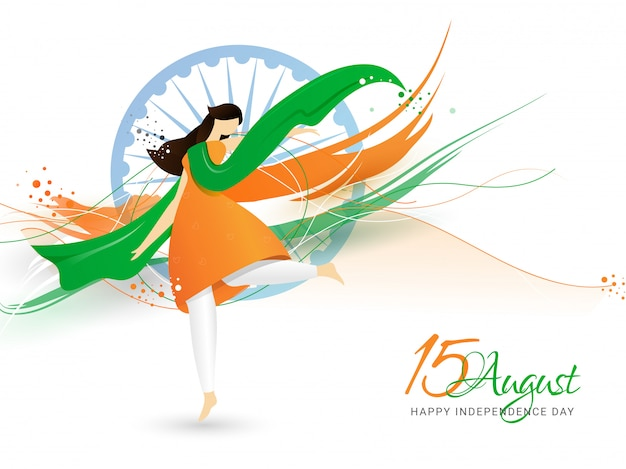 Creative illustration of woman wearing tricolor cloth and dancing. happy indian independence day Premium Vector