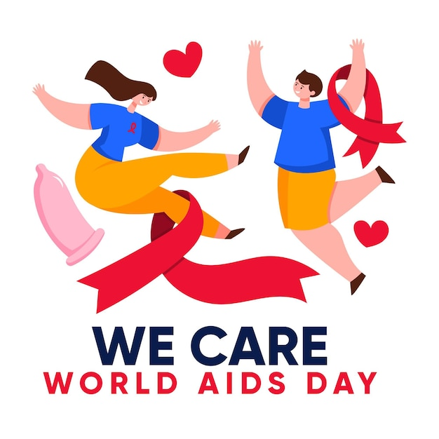Creative illustration of world aids day Free Vector