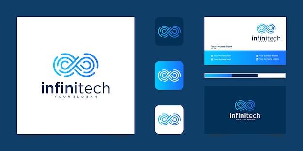 Линия технологий creative infinity. современный дизайн логотипа бесконечности и бизнес Premium векторы