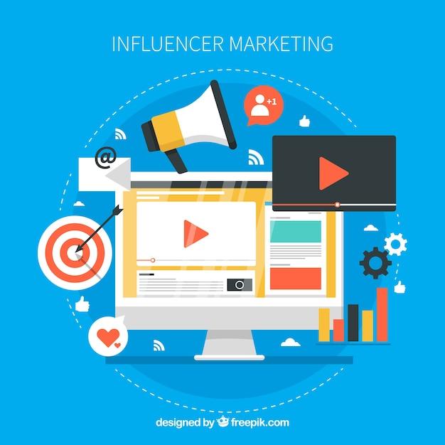 Creative influencer marketing design Free Vector