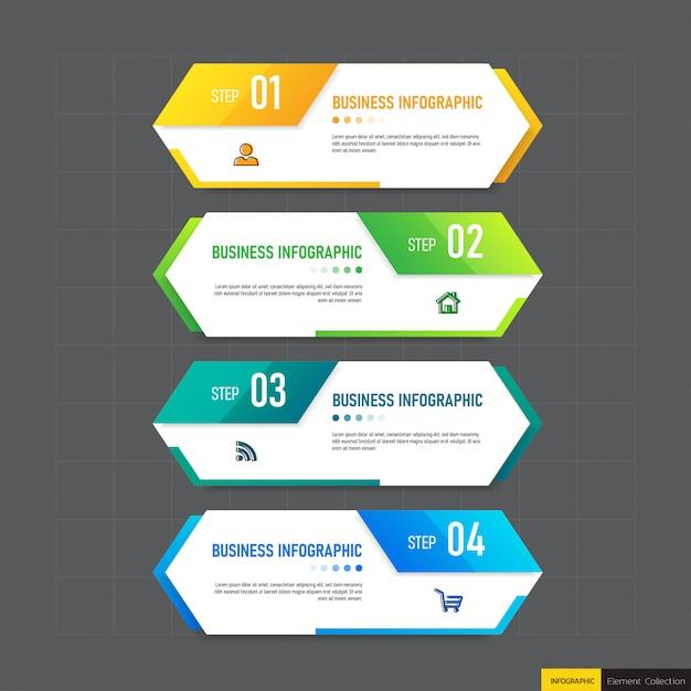 Креативная инфографика 4 шага шаблона Premium векторы