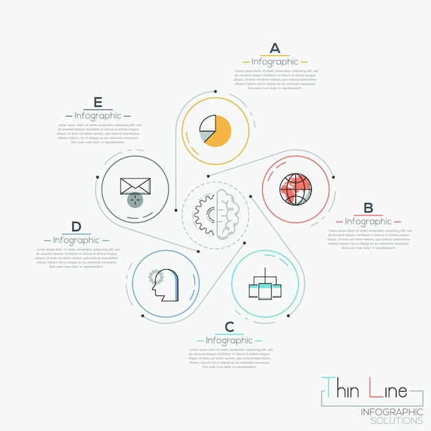 Creative infographic , 5 circles with pictograms placed around Premium Vector