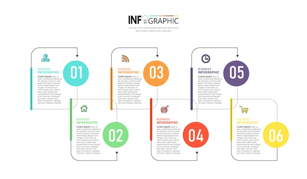 Creative infographic 6 steps template Premium Vector