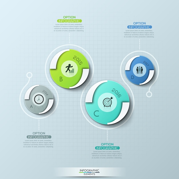 Creative infographic design template with 4 round elements, pictograms, year indication and text boxes. Premium Vector