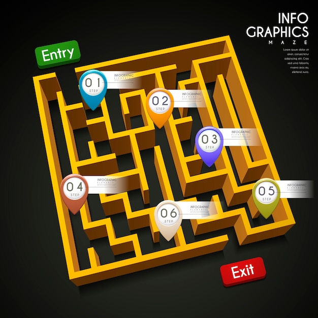 Креативный дизайн инфографики с элементами 3d лабиринта Premium векторы