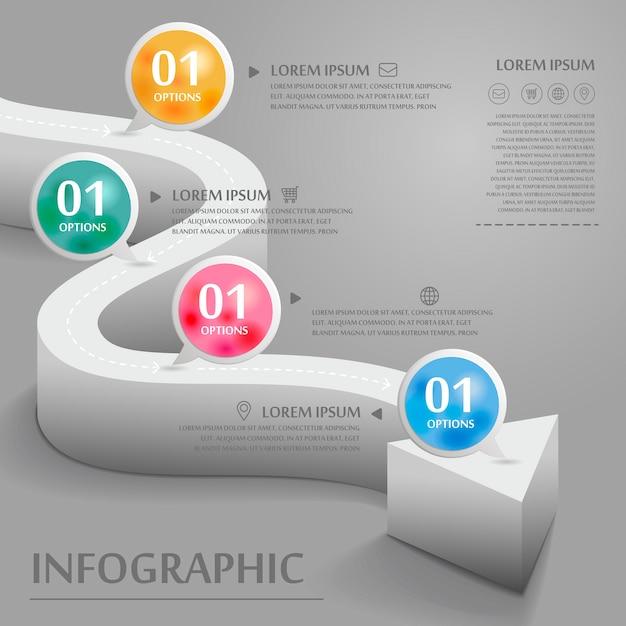 벤딩 3d 화살표 요소와 크리 에이 티브 인포 그래픽 디자인 프리미엄 벡터